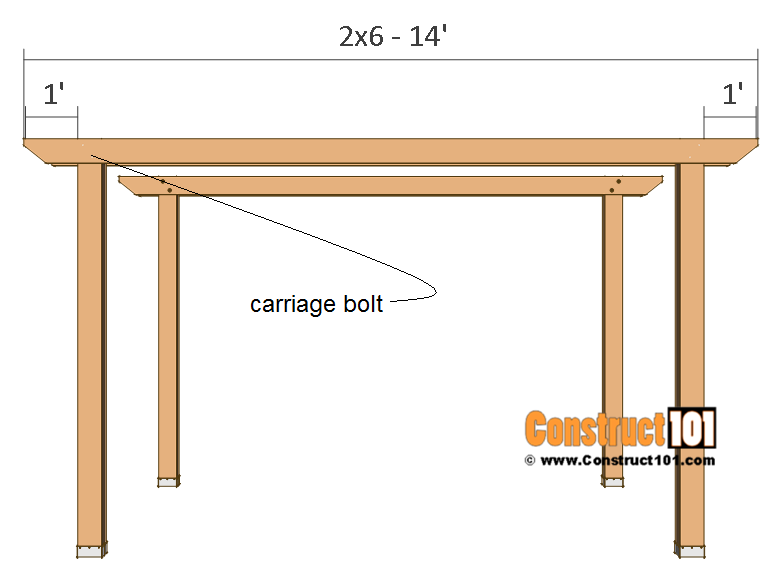 Pergola plans - 10x12 - front and back crossbeam.